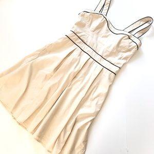 Bebe Off White Black Trim Pleated Fit Flare Dress